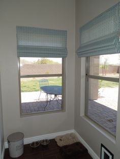 """no-sew Roman shades: this pretty blue fabric is """"Outdoor--Soho, Robin blue"""" from Tonic Living"""