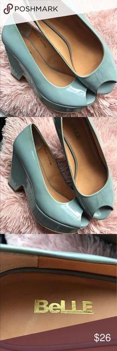 Belle Seafoam Latex Heels These stunning low heels come in a unique latex sea foam green. Perfect for office days and the on the go woman.            🌹Few Scratches and Discoloration on bottom sole                   🌹Chunky Heel Belle by Sigerson Morrison Shoes Heels