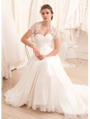 French Lace Modified Sweetheart A-line Wedding Dress