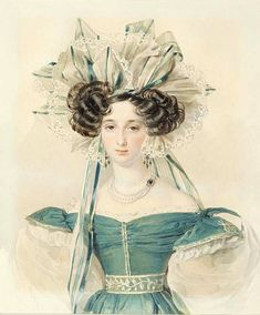 1823 - Not quite 30's. But still fabulous. I want  to collaborate with a milliner and make a hair piece/hat based on this