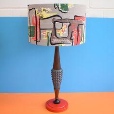Vintage 1950s Teak & Plaster Lamp - Amazing Barkcloth Shade - Red, Black, Yellow