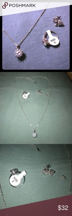 18k white gold over 925 silver crown jewelry set 3 piece bundle crown pendant, ring size 8, and earrings, CZ surrounded by 925 stamped silver and plated with 18K white gold also stamped on the chain, very elegant and very cute, for adult or child.🚬🐱🏡💖accepting reasonable offers💖 alloy/925/18KWG Jewelry