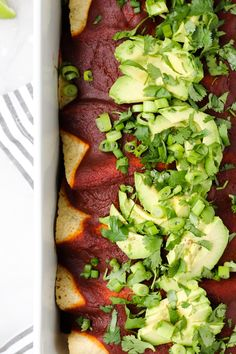 Our Favorite Vegan Enchiladas are filled with black beans, veggies, and a simple, yet flavorful red enchilada sauce made from scratch! Vegetarian Main Dishes, Vegetarian Recipes, Corn Flour Tortillas, Vegan Enchiladas, Red Enchilada Sauce, Slice Of Lime, 9x13 Baking Dish, Tomato Vegetable, Canned Black Beans