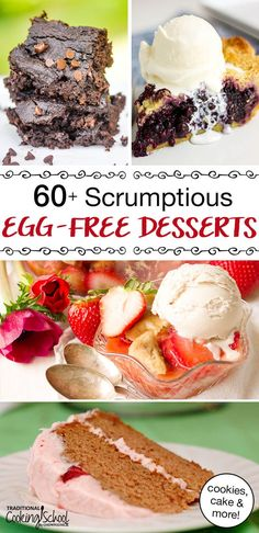 Now no one has to be left out! Enjoy these 60  scrumptious egg-free dessert recipes... from chocolate chip cookies and fudgy brownies, to deep dish blueberry pie and yes, even birthday cake. Many recipes are gluten-free, grain-free, dairy-free, and nut-free, too! #eggfree #dessert #recipes #foodallergies #baking Egg Free Desserts, Healthy Dessert Recipes, Real Food Recipes, Cookie Recipes, Chocolate Pumpkin Pie, Chocolate Pies, Chocolate Chip Cookies, Nut Free, Grain Free