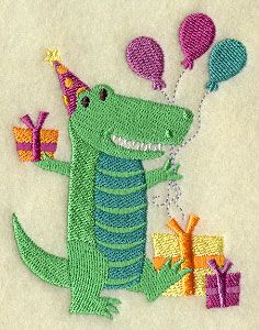 """Party Animal - AlligatorProduct ID:F8518 Size:3.07""""(w) x 3.85""""(h) (77.9 x 97.9 mm)Color Changes:11 Stitches:12000Colors Used:9 Product Comments:"""