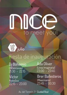 Cartel de la Fiesta de Presentación de la Sala Nice, con las sesiones de DJ Bohemio (31Canciones), Víctor RadioDuo, Ada Oliver (Línea Imaginaria) y Brer Ballesteros (Mixermania).