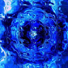 Cobalt Blue Glass Mug, Interior Squircle, Glass Blocks Filter