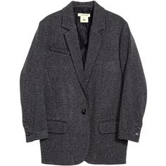 H&M Wool jacket (2,535 MXN) ❤ liked on Polyvore featuring outerwear, jackets, coats & jackets, coats, blazer, dark grey, wool lined jacket, flap jacket, wool blazer and single breasted jacket