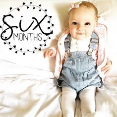 """OMGeeeee this little lady is so adorable   Happy 6 months @staceyandesme  Created with artwork from our premium """"Badges by Month"""" collection. Get the Little Nugget app to create yours  link in our profile. Tag #LittleNuggetCo and @LittleNuggetCo to be featured."""