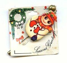 XMAS Snowman Stick Pin w/Jingle Bell Acrylic Enamel GoldTone Greeting Card 1960s