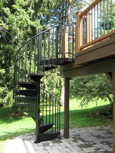Aluminum Powder Coated Spiral Stair To An Under Deck Patio Spiral Staircase  Outdoor, Spiral Staircases