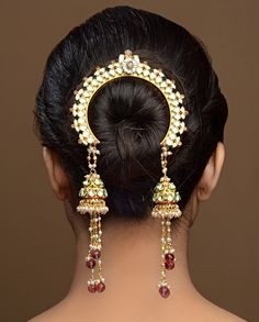 "What a unique and beautiful hair ornament by Bansri Joaillerie - ""Tasseled Jhumki Jooda"" - Indian wedding - Indian bride - Indian bridal hair and make up - Indian wedding hair - Indian jewellery - Indian hair accessory Indian Accessories, Gold Accessories, Hair Accessories For Women, Fashion Accessories, Ethnic Jewelry, Indian Jewelry, Aztec Jewelry, Tikka Jewelry, Silver Jewelry"