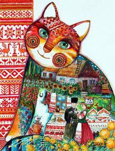Russian cat - Peinture,  24x32 cm ©2016 par Oxana Zaika -                                                                                                                                    Art déco, Art figuratif, Réalisme, Papier, Animaux, Chats, Culture, Famille, Fantaisie, russe, russia, russian, chat, , culture, cosaque
