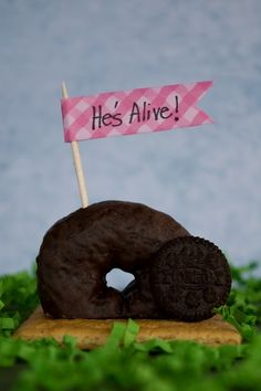 Jesus is alive!  easter breakfast. because I don't like eggs, but I do like donuts!