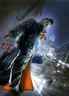 The great Alex Ross of DC's Kingdom Come and Marvel's fame has done the cover for Ubisoft's upcoming Watch Dogs game, I ca. Alex Ross, Video Game Posters, Video Game Art, Video Games, Movie Posters, Full Hd Wallpaper, Dog Wallpaper, Screen Wallpaper, Watch Dogs 1