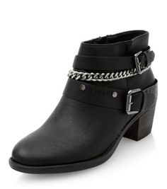 - Chain and buckle strap detail- Pointed toe- Zip side fastening- Block heeled sole