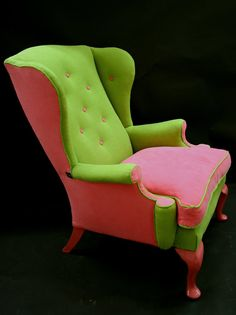 A 1960's reupholstered wing back chair in pink and green.... for the AKA's of the world