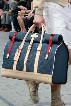Red and Blue LV Weekender.