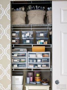 There's no sense running around the house to look for something when a well-labeled bin can quickly help you find it. Bonus: Family members and guests will also know where to return things when bins and shelves are clearly labeled./