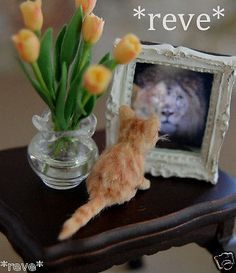 "OOAK Realistic Handmade Kitten ""Magic"" Mirror Dollhouse Miniature 1 12 Sculpt 