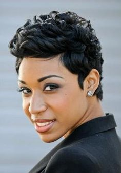 short cut with curls. This would still look cute after a few days wear