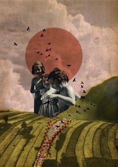"""Rhed Fawell - """"Motherlands"""" - Collage 2015. Promenons-nous dans les bois pendant que le loup n'y est pas si le loup y était il nous mangerait."""