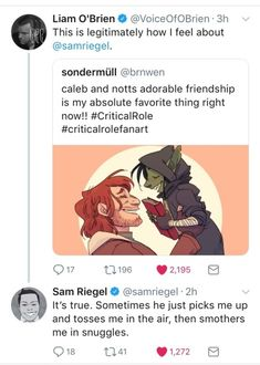 Sam and Liam, Nott and Caleb. #Bromance #CriticalRole #NewBeginnings
