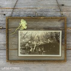 """With its simple design and rustic metal finish, our """"Edwardian"""" metal and glass floating horizontal frame provides a home for a family photo, favorite poem or treasure!"""