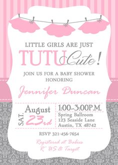 Tutu Baby Shower Invitation Ballerina Baby by GreatOwlCreations