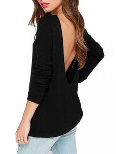 a114a05d0e Sexy Woman Backless Long Sleeve Solid O Neck T-Shirt Casual T Shirts