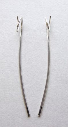 Edith Toledano - Sterling silver extra long wire earrings.