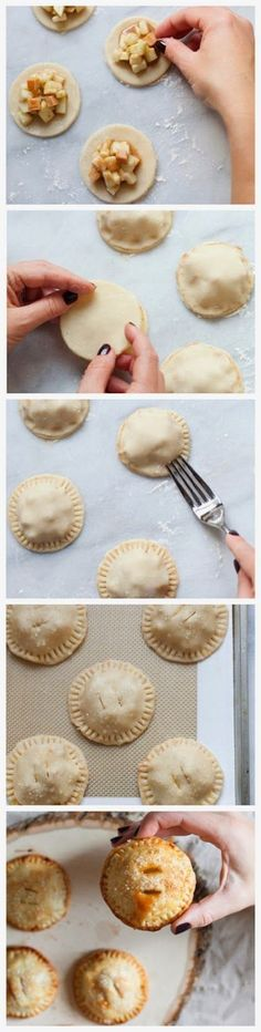Mini Caramel Apple Hand Pies Makes 10 -12 pies Ingredients: 1-box store bought…