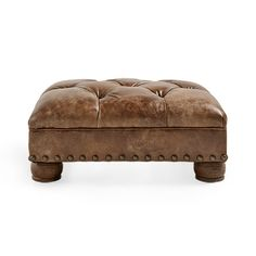 "Beacon 32"" Leather Tufted Ottoman in Bronco Whiskey"