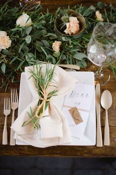 I think I'm just in love with the eucalyptus. And also the tied napkin with greenery.