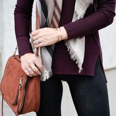 Burgundy Sweater and Rose Gold Kendra Scott Visions of Vogue