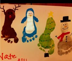 great as a classroom or day care poster…each child's foot is a different part!   winter footprint craft