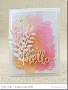I started with a Sweet Tooth card stock base, then applied a watercolor wash on Ranger Watercolor Paper using Peerless Watercolors and a waterbrush, then popped it up on the base with foam mounting tape. Paper: Sweet Tooth card stock, In the Buff card stock, Ranger Watercolor Paper (MFT) Accessories/tools: Vagabond; Bold Greenery Die-namics, Thanks & Hello Die-namics , Peerless Watercolors, waterbrush, foam mounting tape (MFT); Rhinestones