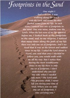 footprints in the sand verse from the bible | Footprints in the Sand Verse Card