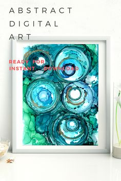 Beautiful high resolution digital version of my original abstract art. Several shades of bright blue, turquoise, and green alcohol ink rings. These rings appear to be interlacing one another while each ring is comprised of several rings sitting one on top of another. This is a very color piece and will brighten anywhere it is placed. Alcohol Ink Tiles, Alcohol Ink Crafts, Alcohol Ink Painting, Abstract Digital Art, Abstract Art, Green Alcohol, Painting For Kids, Painting Art, Resin Art