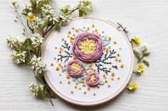 Your place to buy and sell all things handmade Diy Embroidery For Beginners, Floral Embroidery Patterns, Japanese Embroidery, Hand Embroidery Stitches, Embroidery Hoop Art, Hand Stitching, Crewel Embroidery, String Art Patterns, Embroidered Roses
