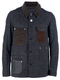 Brown check wool blend jacket from Junya Watanabe Comme des Garçons featuring a brown corduroy collar, two brown corduroy breast pockets, a central front button fastening, one large mechanic pocket, and one patch pocket with grey canvas detailing, long sleeves with cord elbow patches, and a grey canvas section at the rear of the shoulders.