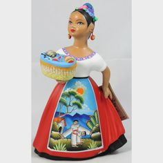 Authentic Original Premium Najaco Lupita Espanola Basket of Toys, Pottery Figurine Red Dress. imported direct from Mexico Mexican Tonala Wandering Gypsy Mexican People, Mexican Ceramics, All Souls Day, All Saints Day, Ceramic Figures, How To Make Paint, Mexican Folk Art, Is 11, Beauty Women