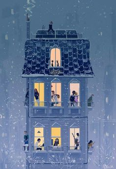 / when the snow falls / by pascal campion / illustration / night / Art And Illustration, Book Illustrations, Graffiti Kunst, Poster Photo, Pascal Campion, Art Watercolor, Art Inspo, Concept Art, Cool Art