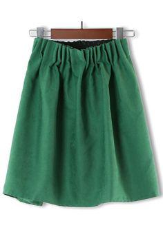 Green Plain Elastic High Waist Linen Blend Skirt