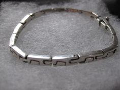 Unique Link Taxco Mexico Sterling Silver Box Clasp Bracelet 8