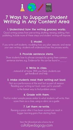 7 Easy Ways to Support Student Writing in Any Content Area | Cult of Pedagogy