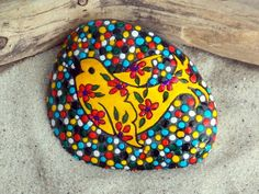 Painted bird rock - love her designs! Life is Beautiful / Painted Rock / www.LoveFromCapeCod.etsy.com
