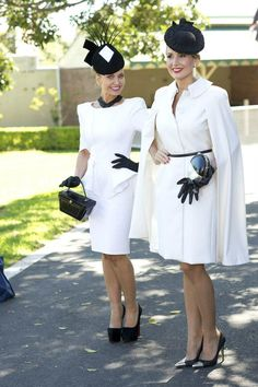Ladies fashioning monochrome at Ascot #accessories Free Pinterest E-book (Get loads of followers) http://pinterestperfection.gr8.com