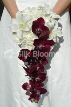 Ivory Peony Cascading Wedding Bouquet with Easter Lilies and Purple Orchids | eBay