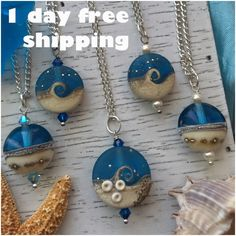 This week I offer 1-day free shipping (exp. 8/22, USA only) for all BLUE LAMPWORK oceanwaves necklaces. You can choose it with Swarovski crystals or pearls, with Sterling silver or Silver plated chain, add your initial or zodiac sign and more...